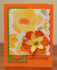 Happy Birthday Greeting Card, For Her, Flowers, Orange, Yellow, Green, White, Blank, Stamped. $3.50, via Etsy.