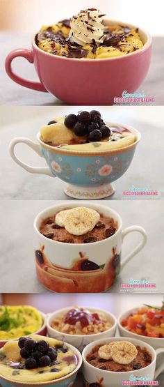 Create super easy breakfasts in a mug in the microwave!