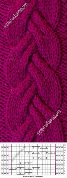 узор 438 простая коса| каталог вязаных спицами узоров