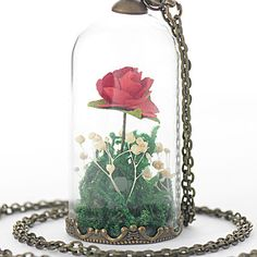 Little Prince Terrarium Necklace, Red Rose, Piccolo Principe Glass Bottle Pendant Bronze Jewelry Surprise Idea Gift for Her Lover Girlfriend