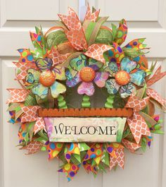 Spring Wreath, Summer Wreath, Spring/Summer Wreath, Spring Welcome Wreath, Welcome Wreath, Flower Wreath, Deco Mesh Wreath by WelcomeHomeCreative on Etsy https://www.etsy.com/listing/227237379/spring-wreath-summer-wreath-springsummer