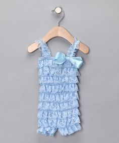 Take a look at this Light Blue Ruffle Romper - Infant & Toddler by Royal Gem Clothing on #zulily today!