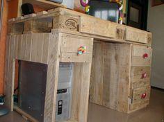 Faire un bureau en bois de palette des mod les palettes - Fabriquer un bureau en palette ...