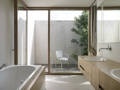 Awesome Bathroom Interior With Elegant Contemporary Design Ideas Wooden Vanity White Sinks And The White Tub