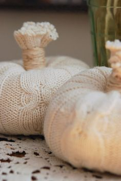 "Check out 10 Ways to Reuse an Old T-Shirt   perfectlypumpkin:    ""Warm n' Toasty"" Sweater Pumpkins"