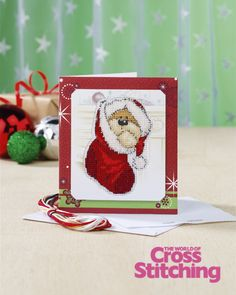 Adorable 'Fizzy Moon' Christmas card - FREE cross stitch kit! by The World of Cross Stitching, issue194