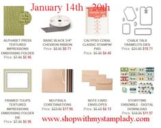 Stampin' Up! Weekly Deals Starting January 14th. Don't miss the Alphabet Press Embossing folder and the Neutrals Core'dinations paper. www.shopwithmystamplady.com