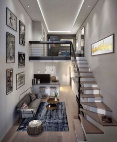 Lovely small loft apartment inspo What do you think about this interior? - - - Designed by BLOK Loft Interior Design, Home Room Design, Loft Design, Small House Design, Modern House Design, Luxury Interior, Loft Apartment Decorating, Apartment Layout, Apartment Living