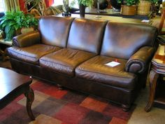 I Love This Ethan Allen Leather Sofa Modern Couch Spanish Colonial