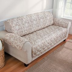 Improvements Damask Casual Furniture Cover With Strap Loveseat   Green  Featuring Polyvore, Home,