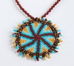 Ethnic macramè spiral necklace geometric brown by KnottedWorld