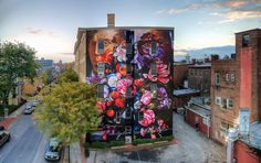 "Gaia - ""Pronkstilleven"" in Kingston, NY on the former Stuyvesant hotel renovated by RUPCO for O+ Festival. Photo by Andy Milford."