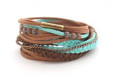 Wrap Bracelet, Boho Bracelet , Leather wrap, Mint Brown Boho bracelet, suede, double wrap, boho chic