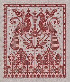 ru / Photo # 1 - Beautiful and interesting monochrome work - Cross Stitch Bird, Cross Stitch Samplers, Cross Stitch Charts, Cross Stitch Designs, Cross Stitching, Cross Stitch Embroidery, Cross Stitch Patterns, Two Birds, Chiffon