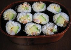Avocado and Shrimp California Roll. Originally, California rolls have the rice on the outside, but this is a version with the rice on the inside of the seaweed.