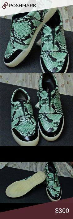 3-1 Phillip Lim Low Top Sneakets These leather low top sneakers by 3-1 Phillip Lim will surely catch people's attention not by just the color but design as well. Comes with dust bag. The color is Celadon. 3-1 Phillip Lim Shoes Sneakers