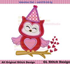 Valentine owl machine embroidery applique design, cute heart owl hat on branch, holiday, owl-018-2d-3g