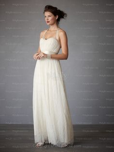 A-line Halter Lace Ankle-length Ivory Sashes / Ribbons Wedding Dresses at Millybridal.com