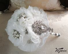 Off white Bridal Bouquet Bridal Brooch Bouquet by VioGemini, $180.00