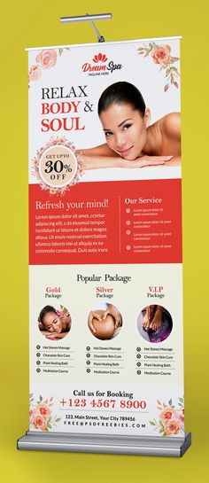 Free Beauty and Spa Roll-up Banner Template PSD