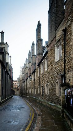 Row of Chimneys on traditional college building in Cambridge