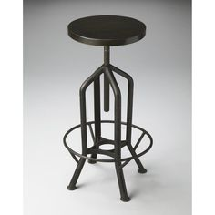 Have to have it. Butler Revolving Black Metal Adjustable Height Backless Bar Stool - $189 @hayneedle.com