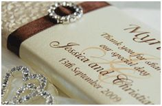 Designer Chocolates - Personalised Wedding Chocolates Bonbonniere doubles as place card