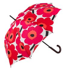 Pieni Unikko Stick Umbrella, crafted from the classic Marimekko Unikko poppy pattern print. Marimekko, Cute Umbrellas, Umbrellas Parasols, Best Umbrella, Under My Umbrella, Red And Pink, Pink White, Poppy Pattern, Singing In The Rain