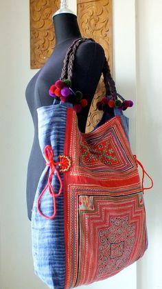 Hmong Ethnic handmade bag vintage work beautiful,Tote Bags, Bohemian Handbags, Unique Bag