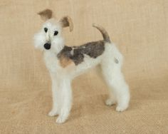 Lucy the Wire Fox Terrier: Needle felted animal sculpture by The Woolen Wagon