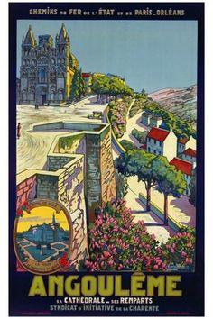 Angouleme ~ Fine-Art Print - Vintage European Travel Art Prints and Posters - Vintage Travel Pictures Retro Poster, Poster Ads, Advertising Poster, Travel Ads, Travel Images, Travel Pictures, Train Travel, Pub Vintage, Vintage Art