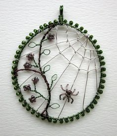 Autumn Morn (sold) by Louise Goodchild. Wire Wrapped Jewelry, Metal Jewelry, Beaded Jewelry, Handmade Jewelry, Jewlery, Wire Pendant, Pendant Jewelry, Wire Crafts, Jewelry Crafts
