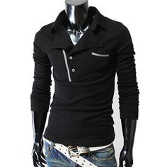 (SML-BLACK) Mens casual rider style slim fit collar t-shirts BLACK