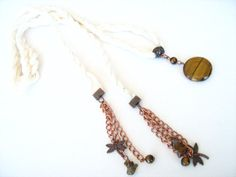 Lariat Necklace raw silk cord tiger eye pendant by NMNHANDMADE, $29.00