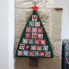 Calendrier de l'Avent Sapin de Noël En Tissu, 93cm x 60cm, Décoration de Noël