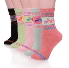 Sdbing 5 Pairs Womens Cute Thick Warm Winter Cotton Crew Socks (Deer)