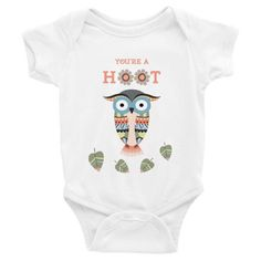 You're A Hoot Baby Onesie ($26 AUD) available in White, Blue, and Grey, sizes 3-24 months.