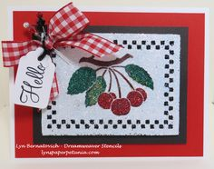 Double glitter technique with new release Cherries (LL3032), Hello sentiment (A Muse), May Arts Ribbon, A Muse Studio cardstock.