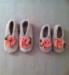 knitted and frisked by asselino, sweet slippers for little sisters
