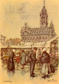 middelburg Anton Pieck, Amazing Paintings, Dutch Painters, Dutch Artists, The Old Days, My Heritage, Art History, Netherlands, Art Gallery