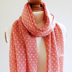 coral dotty pure wool scarf by highland angel | notonthehighstreet.com