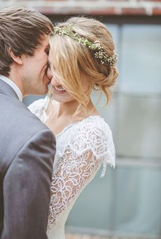 Chignon with Baby's Breath Flower Crown | Wedding Hairstyle