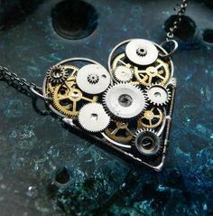 Steampunk Heart Necklace Star Crossed on LoLoBu