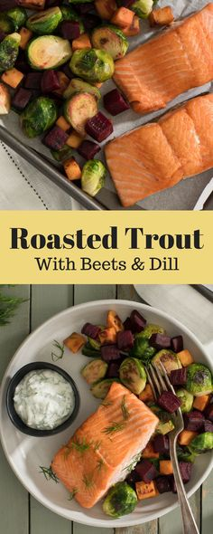 Load up on your veggies with this winter roasted trout dinner. #RoastedVeggies #Beets #WeeknightMeals