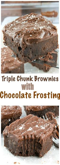 This is the most ridiculously easy recipe of Triple Chunk Brownies with Chocolate Frosting ever.