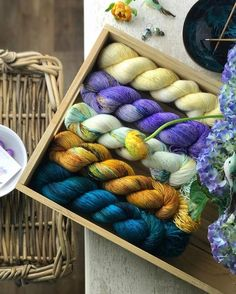 """277 Likes, 2 Comments - • Yarnologist • (@yarnologist) on Instagram: """"'Deep Sea,Gandhi,Kiss the mermaid ,Wisteria and Vanilla' from the lovely @uschitita """""""