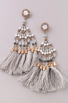 Marble Tassel Earrings #jessleaboutique