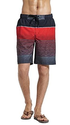 3eb7cfefb4 MOUNTEC Men's Swim Trunks Quick Dry Board Shorts with Colorful Stripes  Printing Review