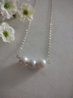 Lavender Pink Genuine Freshwater Pearls Necklace by SwamiJewelry, $35.00