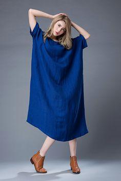 Cobalt Blue Loose Fit Tunic Dress  Casual Comfortable Linen Dresses, Casual Dresses, Summer Dresses, Boho Fashion, Womens Fashion, Natural Linen, Normcore, High Neck Dress, Tunic